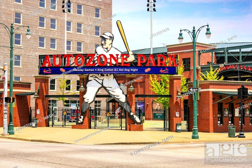 Stock Photo: Outside the Autozone Park baseball stadium in Memphis TN.