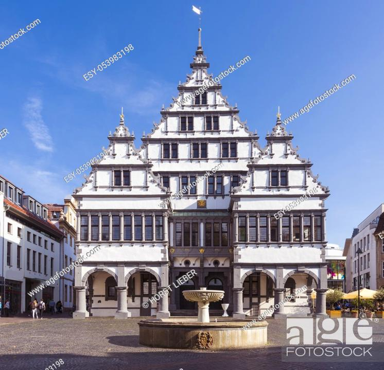Stock Photo: The Renaissance town hall was constructed in 1616 on a market square of the city of Paderborn, North Rhine-Westphalia, Germany, Europe.