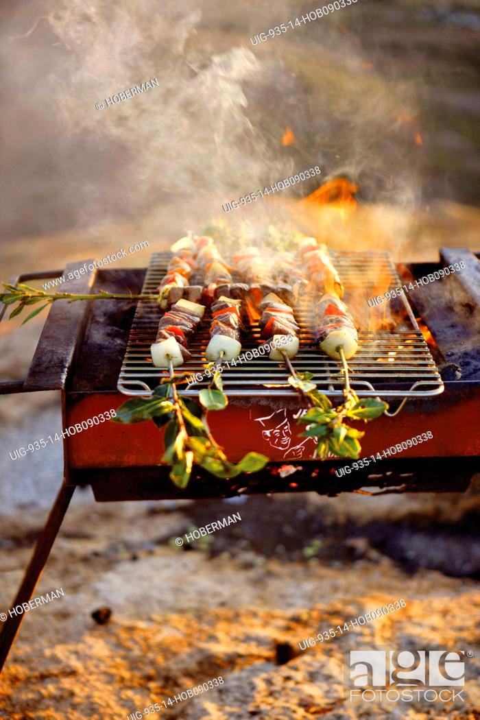 Imagen: Lamb Kebabs on Barbeque.
