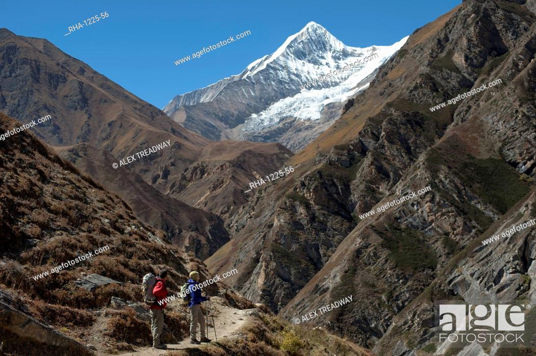 Stock Photo: Trekking in the Kagmara valley in Dolpa, a remote region of Nepal, Himalayas, Nepal, Asia.