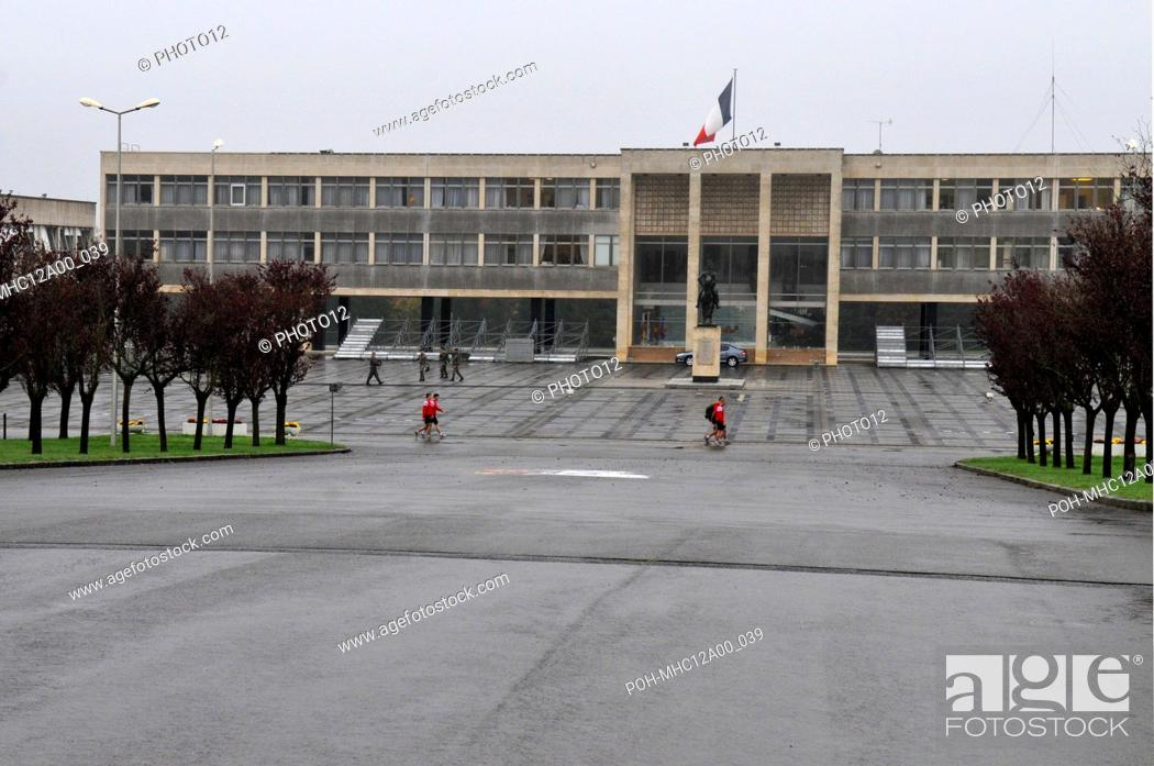 Stock Photo: Student officers train infront of the building of the military school of Saint Cyr Coetquidan November 2, 2010.