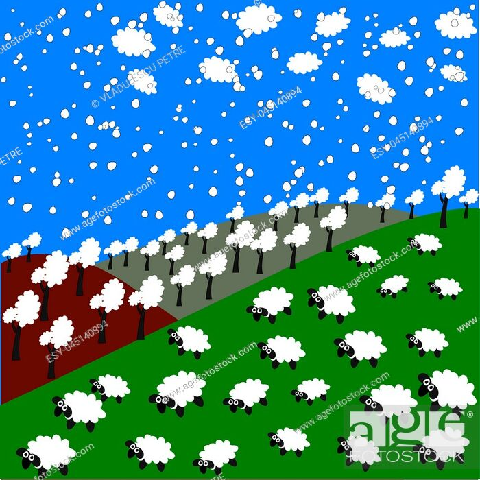 Stock Vector: sheep and snowflakes in the mountains.