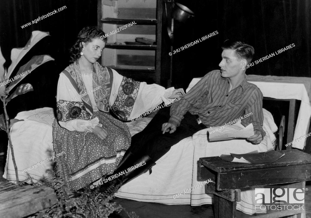 Stock Photo: Barnstormers, Student Life Two students performing a scene from Squaring the Circle, 1946.
