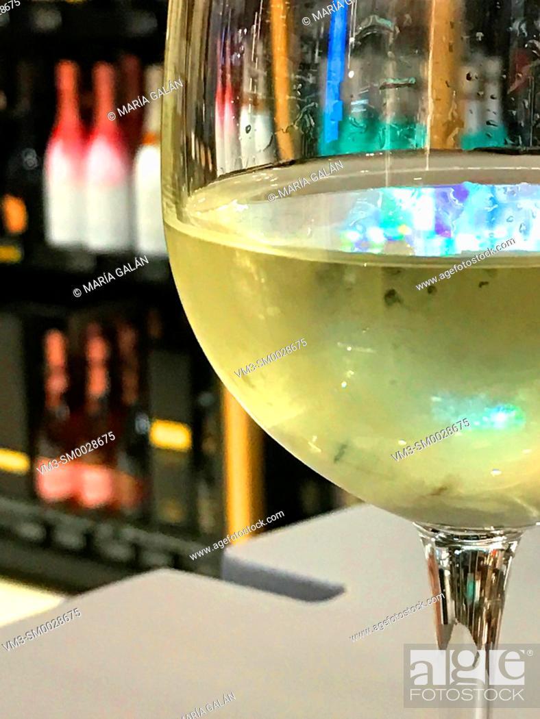 Stock Photo: Glass of white wine. Close view.