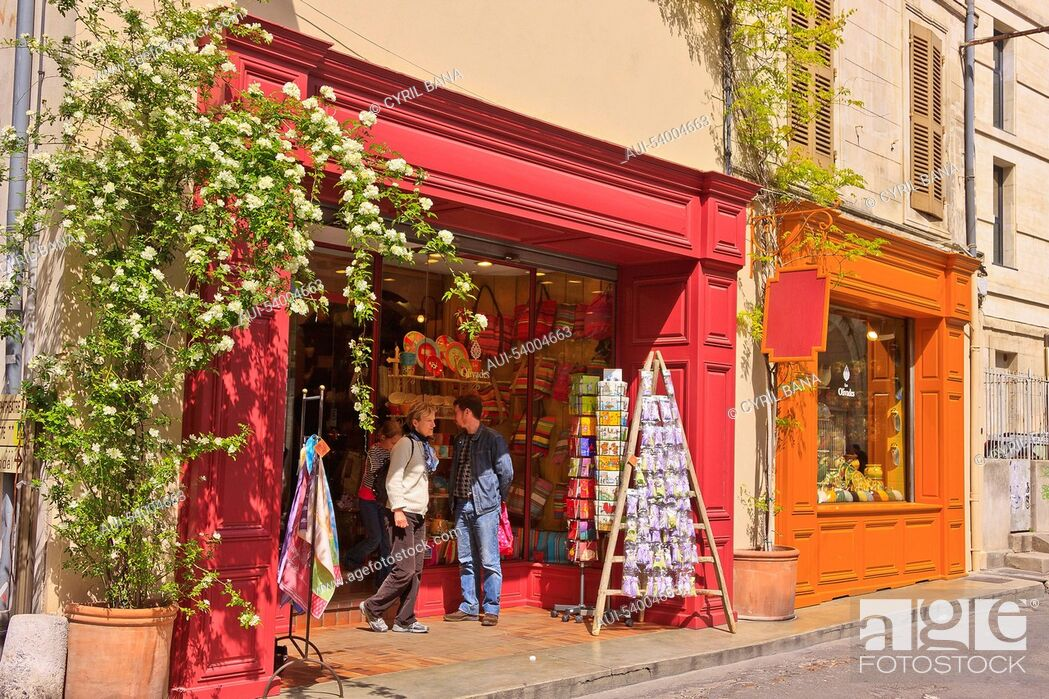 Stock Photo: France, Arles, colorful shops,.