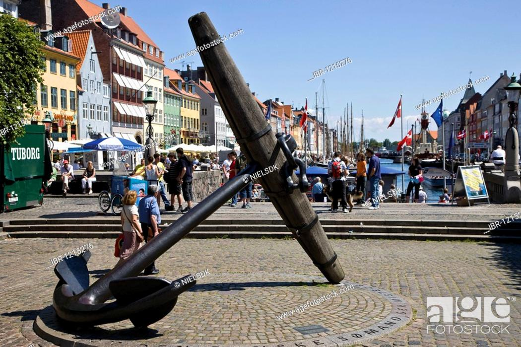 Stock Photo: The Big Anchor, commemorating the Danish sailors who died during World War II, in Nyhavn, Copenhagen, Denmark.