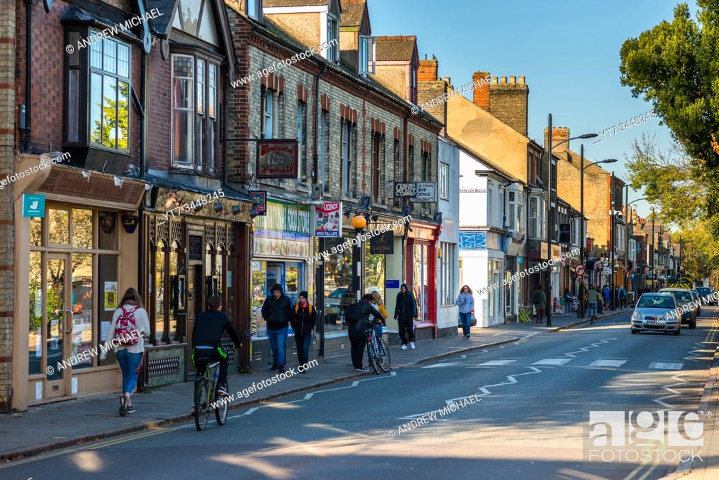Stock Photo: Mill Road is one of Cambridgeâ. . s most vibrant destinations with independent cafes, quirky shops and international grocery stores and restaurants.