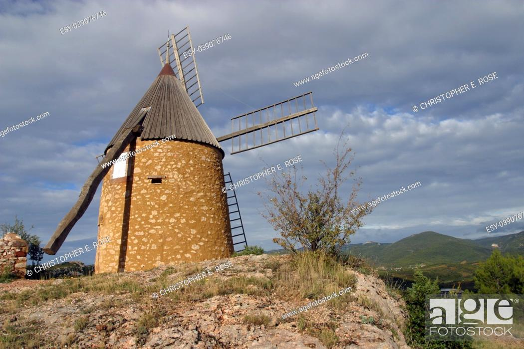Stock Photo: The restored windmill on the hill above St Chinian, Languedoc-Roussillon, France, Europe.