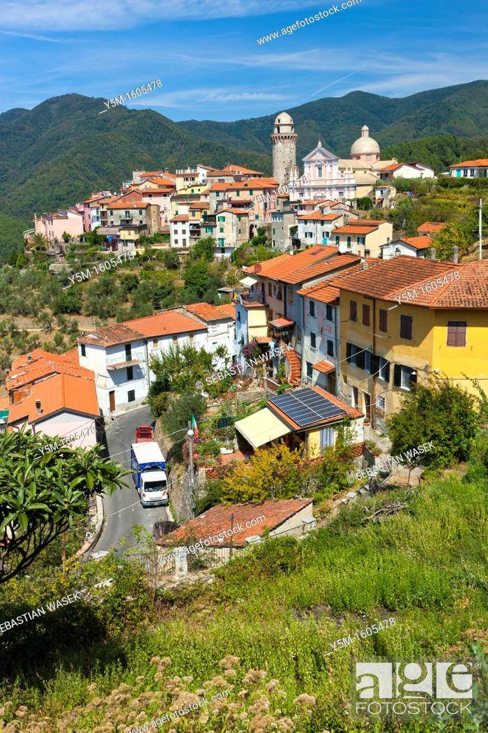 Stock Photo: The village of Casano belongs to the municipality of Ortonovo commune in Liguria, bordering Tuscany at the feet of the Apuan Alps, Province of La Spezia.