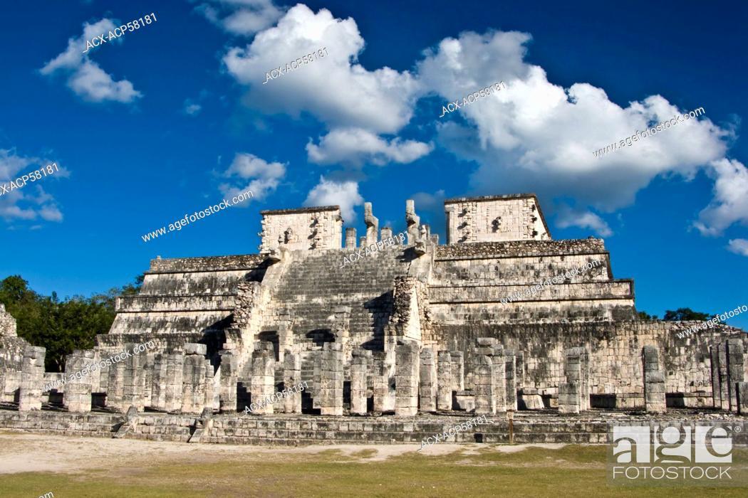 Stock Photo: Templo de los Guerreros Temple of the Warriors at Chichen Itza, Mexico. Chichen Itza is a large pre-Columbian Mayan city in the Mexican state Yucatan.
