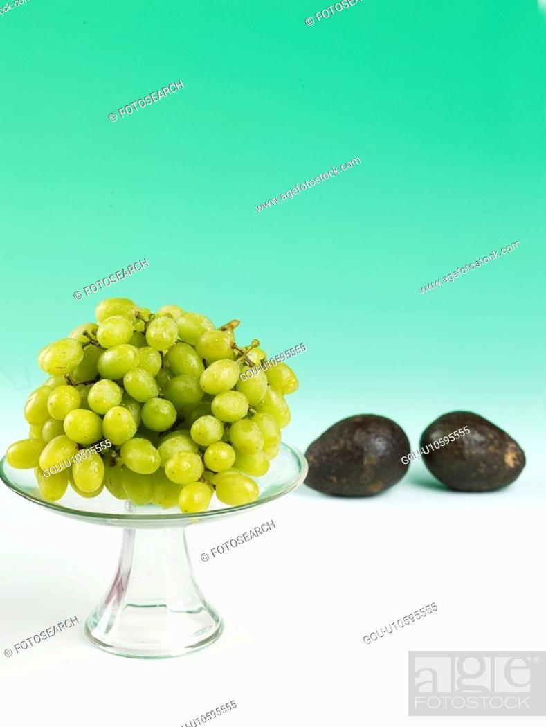 Stock Photo: plants, green grape, plant, vegetable, avocado, glassware.