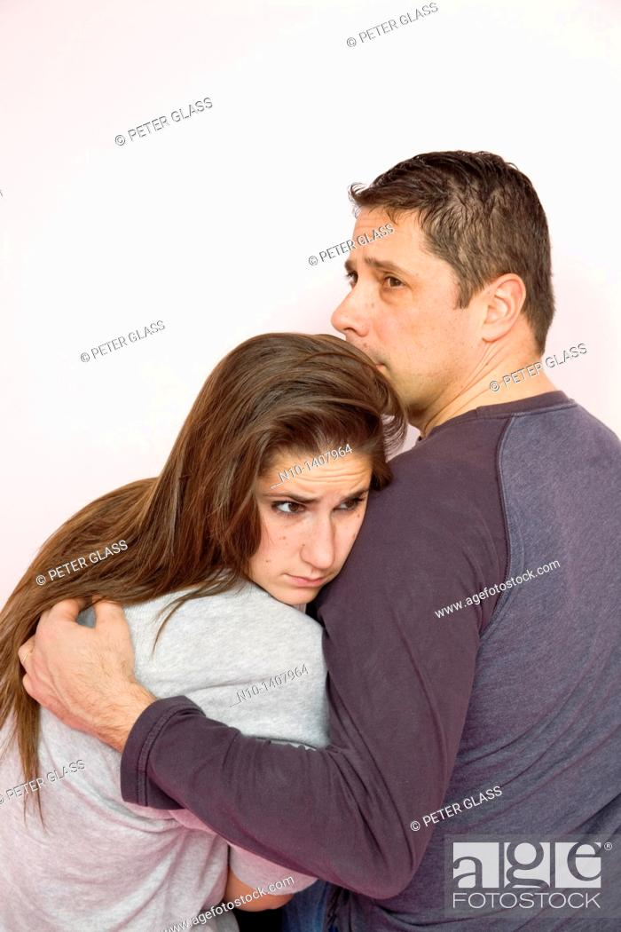 Stock Photo: Teen girl with her father.