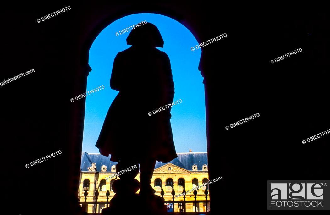 Stock Photo: Paris, France - Army Museum, Napoleon Statue, Les Invalides, Musée de l'Armée.