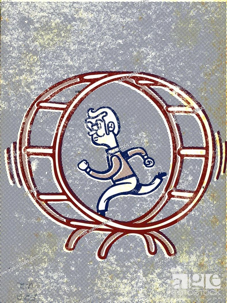 Stock Photo: Drawing of a man running in a gerbil wheel.