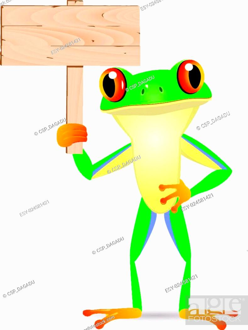 Stock Vector: Frog with blank signboard.