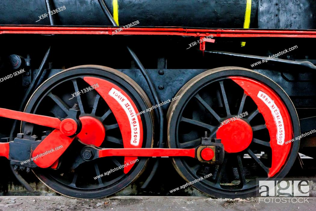 Stock Photo: detail of steam locomotive in depot, Resavica, Serbia.