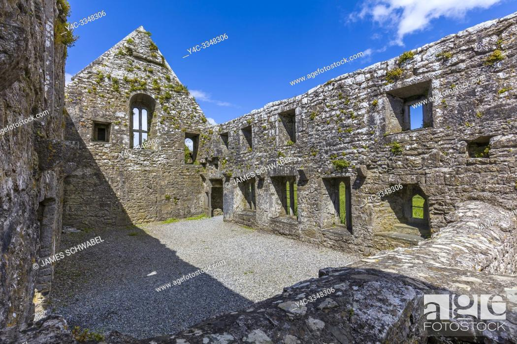 Stock Photo: Ruins of Ross Errilly Friary in Headford Co. Galway founded 1351 AD one of the finest medieval Franciscan monasteries in Ireland.
