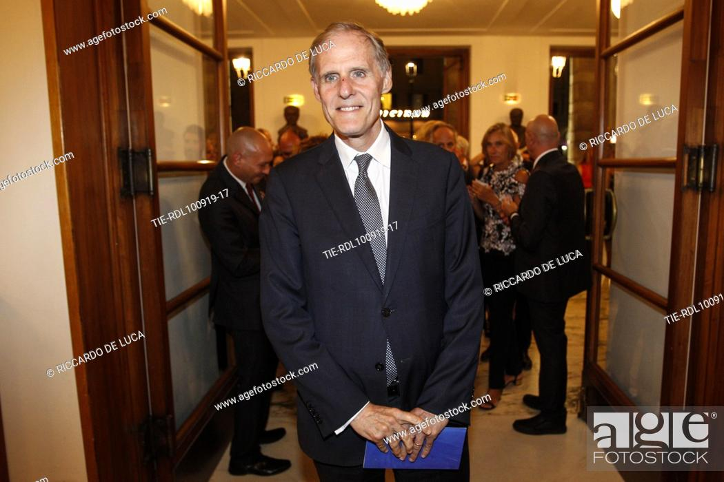 Stock Photo: French Ambassador Christian Masset arrives at the Premiere of theatrical performance ' Waiting for the Sibyl ' at Opera Theatre of Rome, ITALY-10-09-2019.