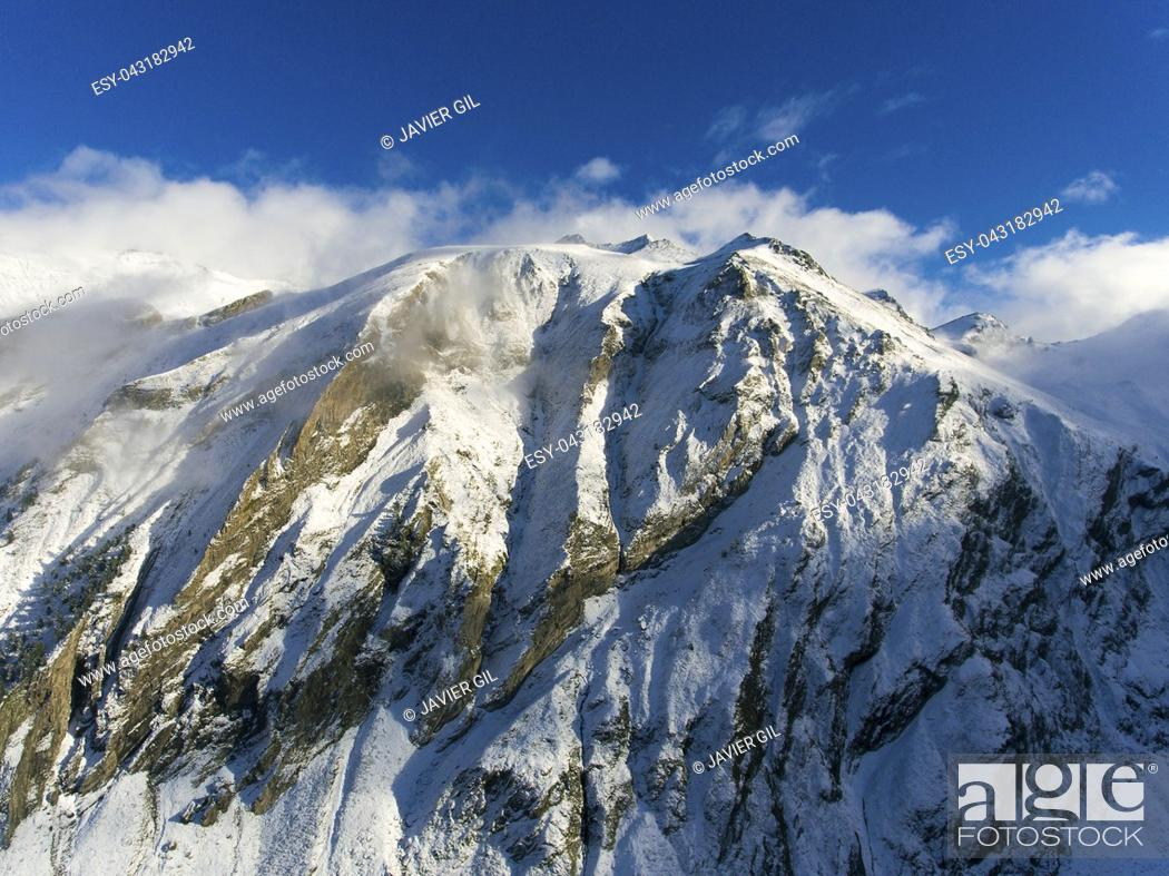 Stock Photo: Mountains in Aragnouet, Hautes-Pyrenees, Occitanie, France.