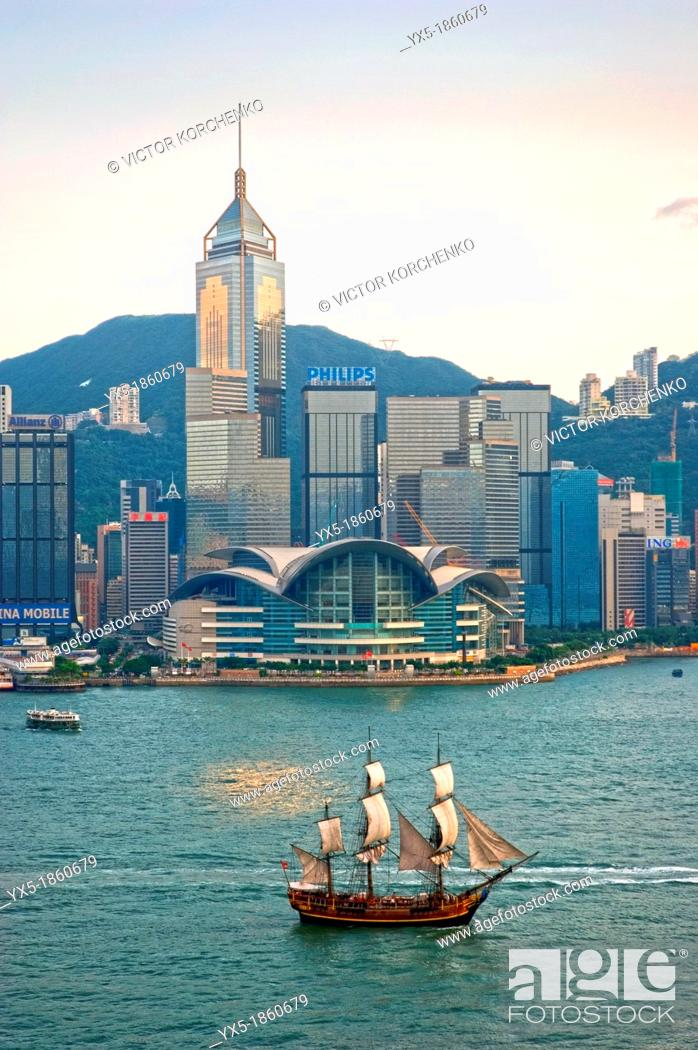 Stock Photo: Convention Centre and Victoria Harbour, Hong Kong.