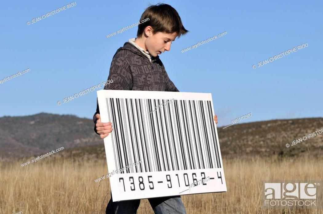 Stock Photo: Boy with a big bar code.