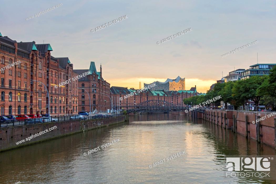 Stock Photo: Zollkanal and the Elbphilharmonie / Elbe Philharmonic Hal in Speicherstadt, warehouse district, port of Hamburg, Germany.