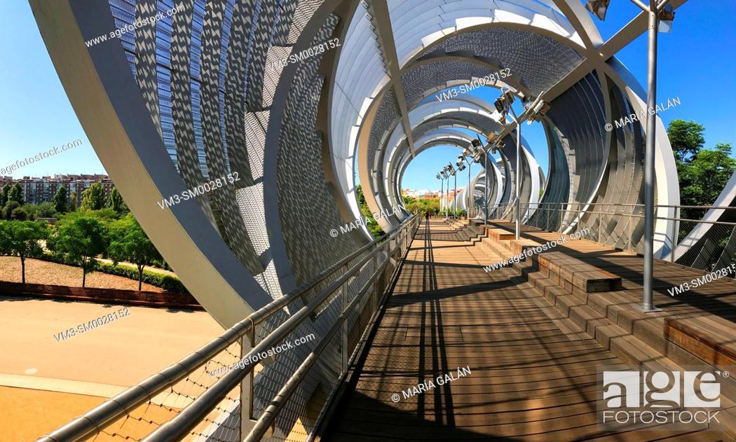 Stock Photo: Bridge by Perrault, panoramic image. Madrid Rio park, Madrid, Spain.
