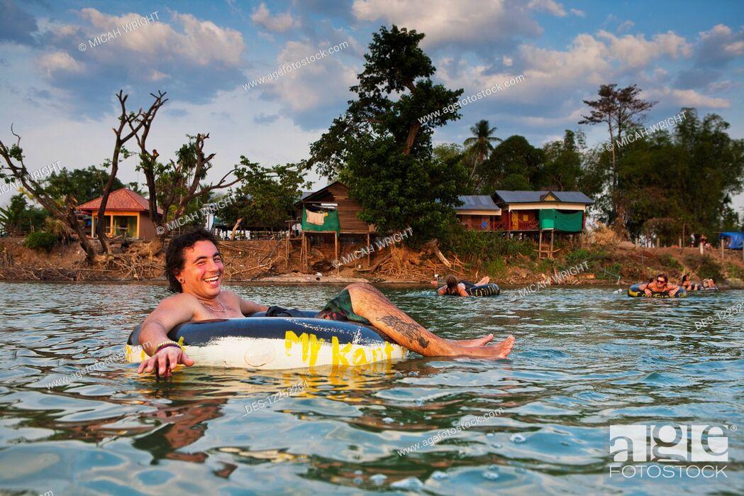 Stock Photo: Tubing in the Mekong River; Si Phan Don, Laos.
