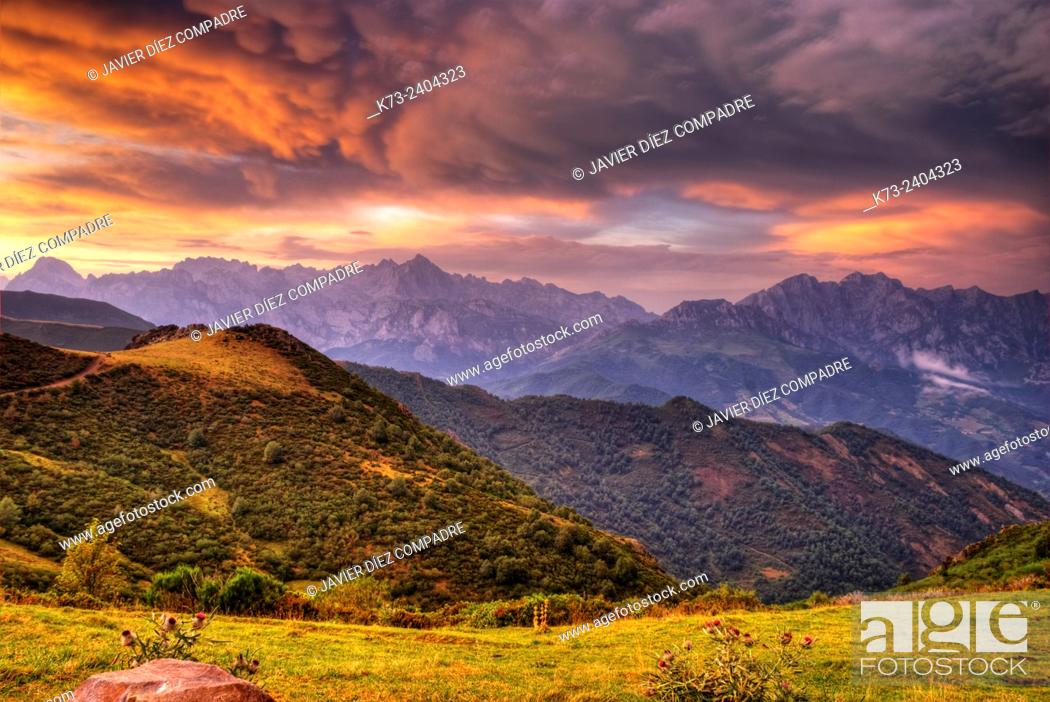 Stock Photo: Collado de Llesba with Central and Eastern Massifs in Background. Picos de Europa National Park. Cantabria. Spain.