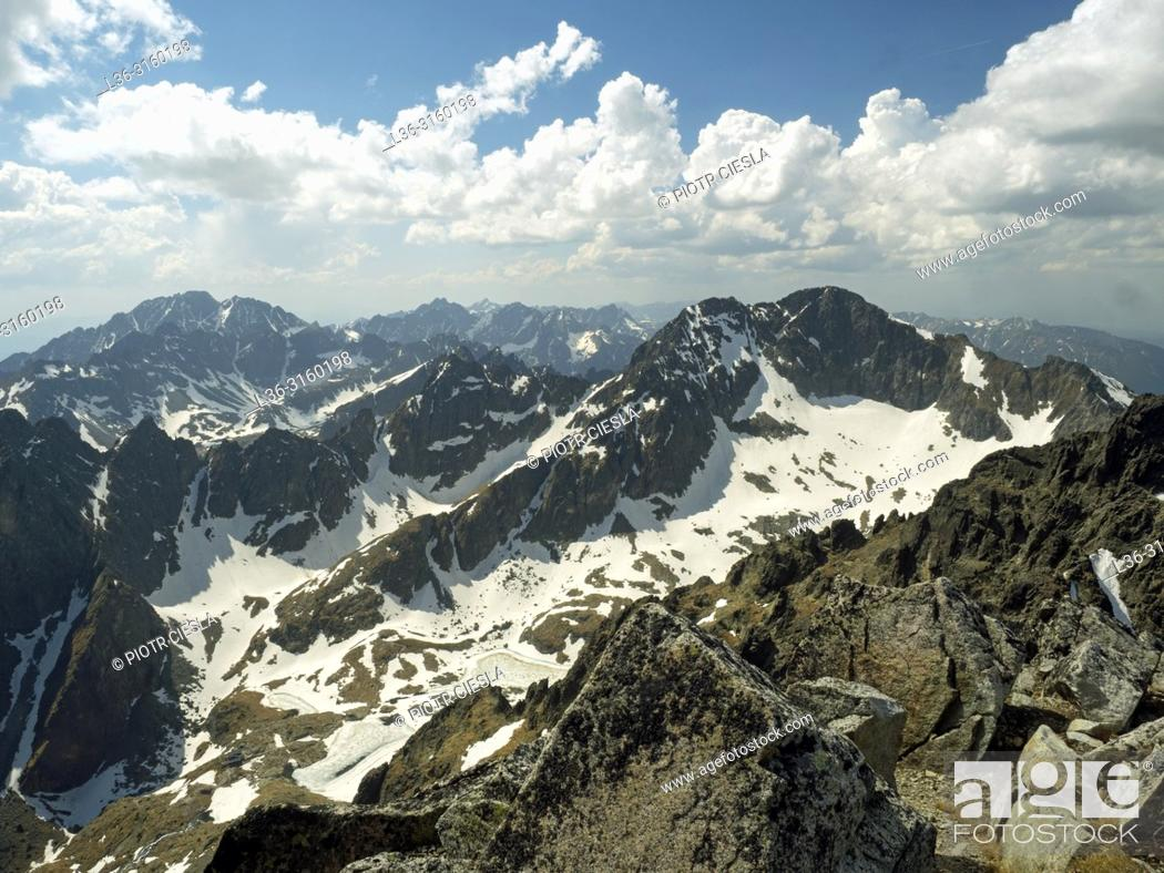 Stock Photo: View from Lomnica Peak (Lomnicky Stit). Tatra mountains. Slovakia.