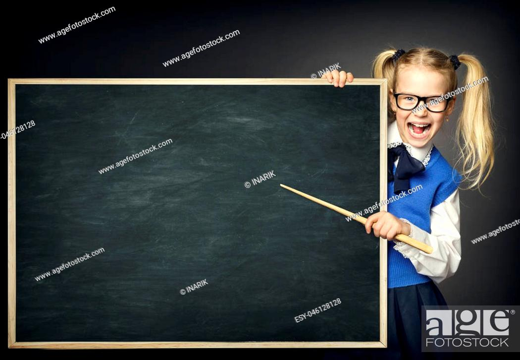 Stock Photo: School Child with Pointer, Kid Girl Peek Blackboard, Learning and Education Advertisement.