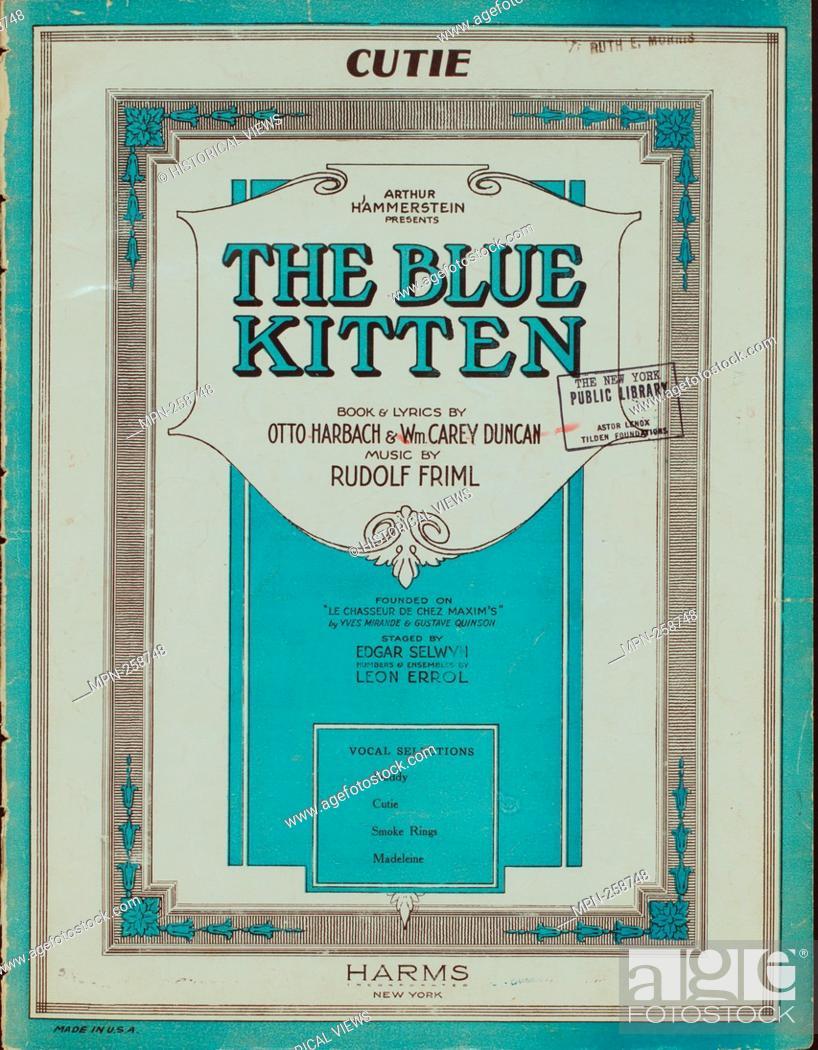 Stock Photo: Cutie Additional title: Blue kitten. Cutie. Vocal score. Additional title: Le chasseur de chez Maxim's. Harbach, Otto (Lyricist) Friml.