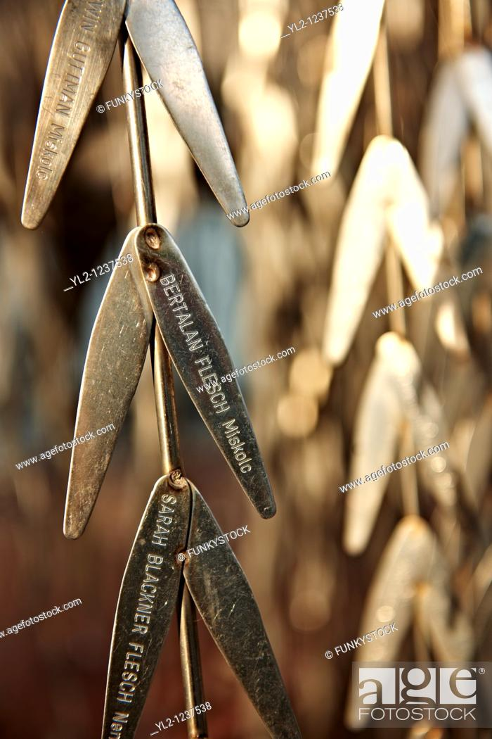 Stock Photo: Imre Varga's 'Memorial of the Hungarian Jewish Martyrs' with leaves with the names of Jews murdered in the second world War.