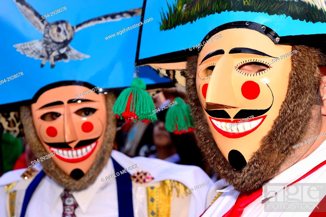 """Stock Photo: Cigarrons of Verin, mask of the Entroido """"""""carnival"""""""" in Verin, Orense, Spain."""