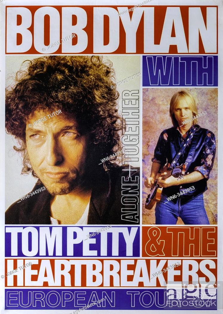 Imagen: Bod Dylan with Tom Petty and the Heartbreakers European tour 1987, Musical concert poster.