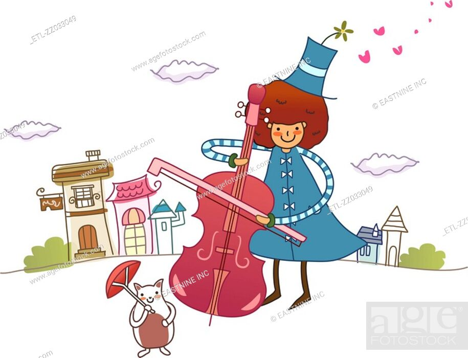 Stock Photo: Woman playing a violin and smiling.
