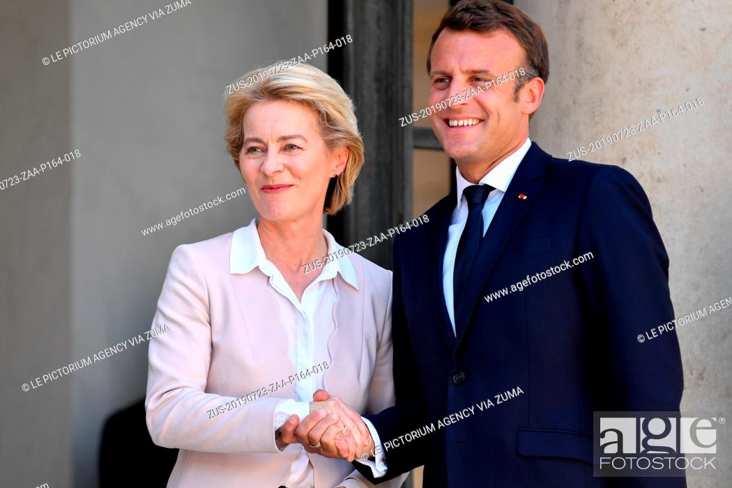 Stock Photo: July 23, 2019, Paris, France: The President of France, EMMANUEL MACRON received for a working lunch, the new President of the European Commission, Mrs.