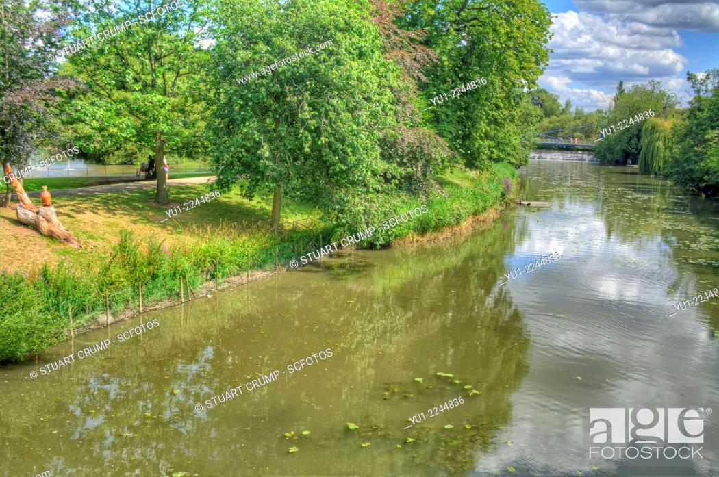 Stock Photo: The River Leam in Royal Leamington Spa, Warwickshire, England, UK.