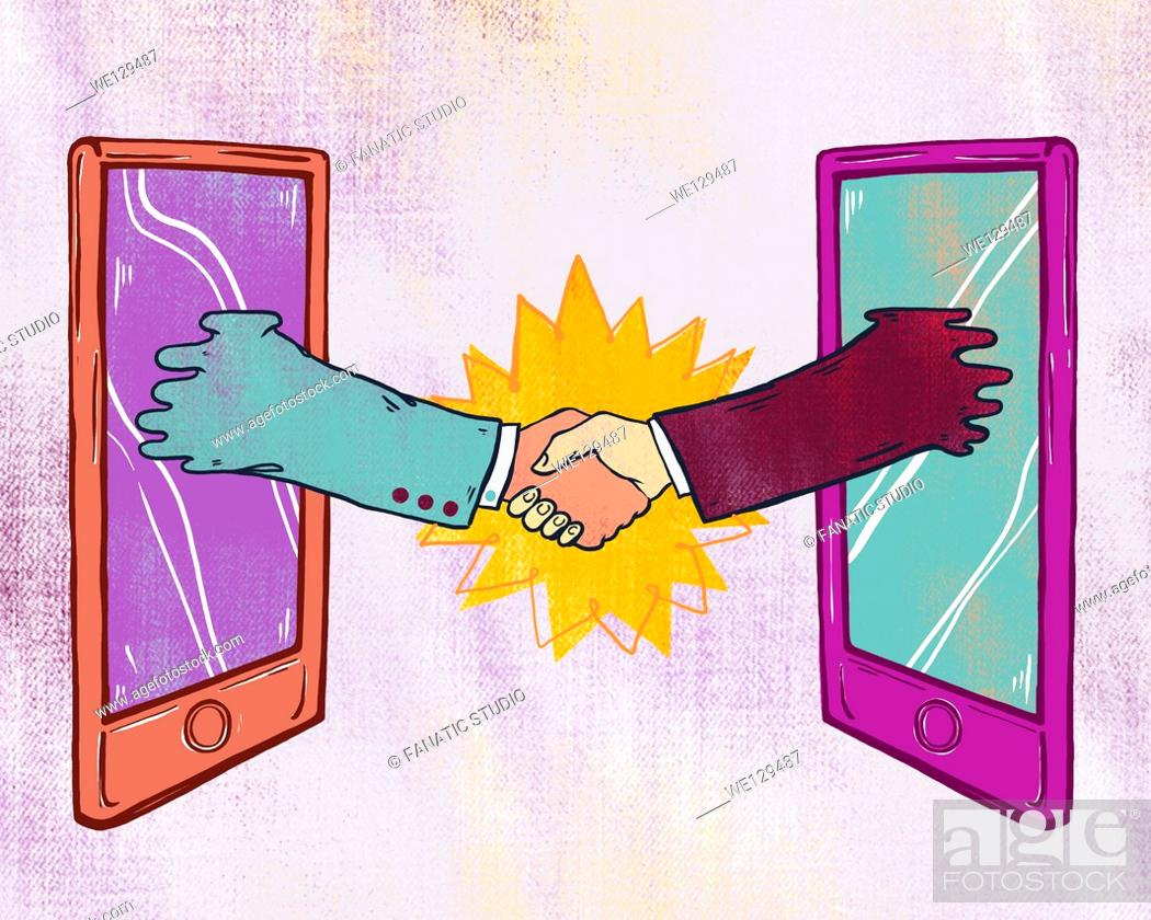 Stock Photo: Illustrative image of business people shaking hands through digital tablet representing business networking.