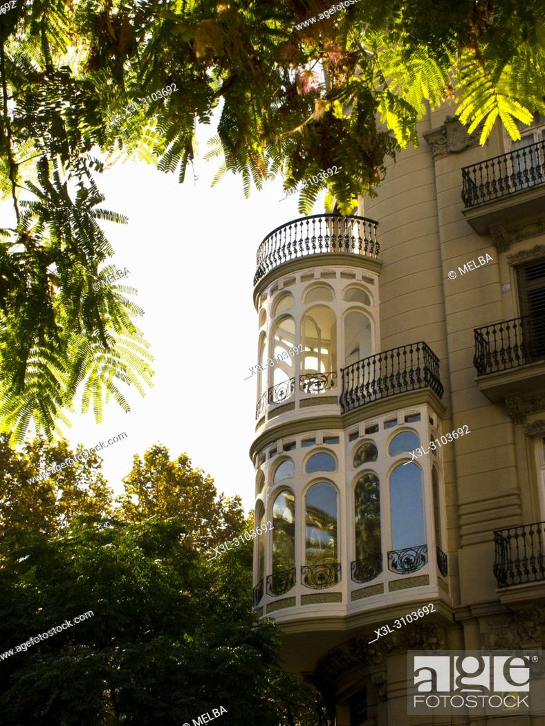 Stock Photo: Decoratives balconies in Valencia. Spain.