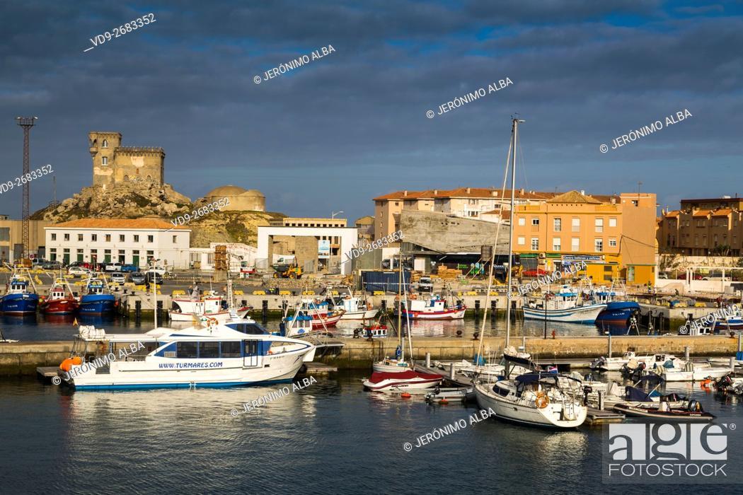 Stock Photo: Boats in the fishing port of Tarifa, Costa de la Luz, Cadiz province, Andalusia, Spain Europe.