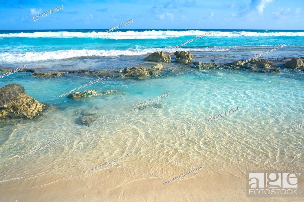 Stock Photo: Cozumel east island beach in Riviera Maya of Mayan Mexico.