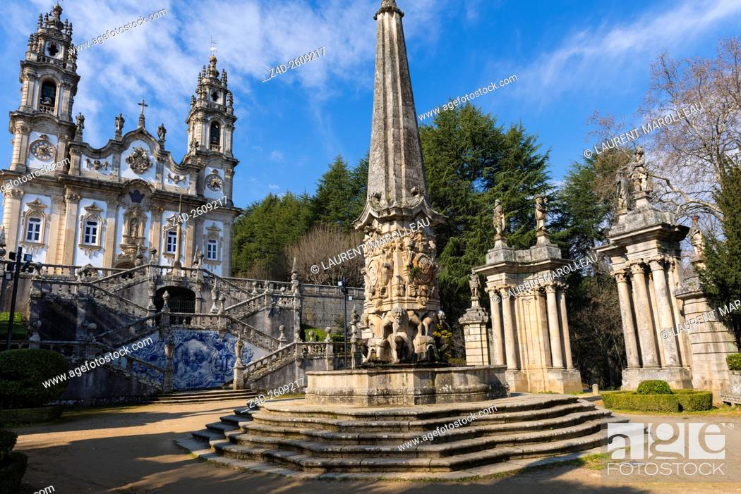 Fountain of the giants in courtyard of the kings to sanctuary of our stock photo fountain of the giants in courtyard of the kings to sanctuary of our lady of remedies lamego viseu district norte region portugal europe publicscrutiny Image collections