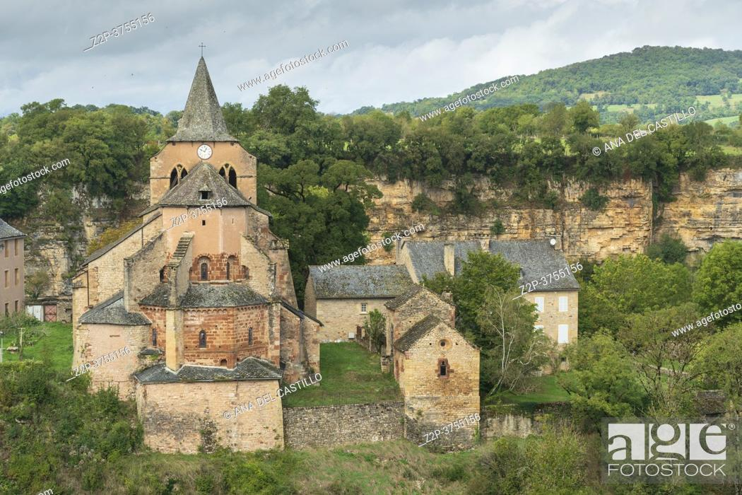 Stock Photo: Bozouls medieval castle and town on a canyon South of France, Aveyron Midi Pyrenees on September 24, 2020 nice view of the antique medieval stone buildings with.