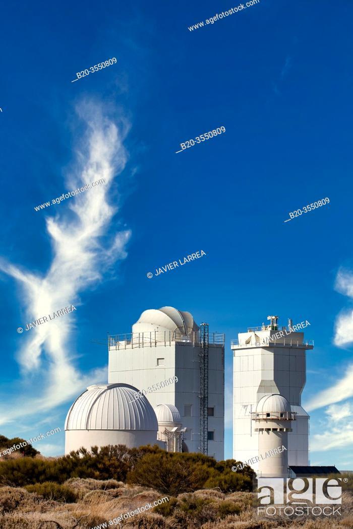 "Stock Photo: Telescopes at the """"Observatorio del Teide"""" (OT), Astronomical Observatory, Las Cañadas del Teide National Park, Tenerife, Canary Islands, Spain."