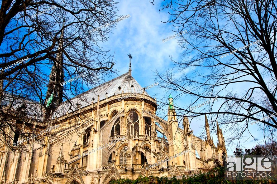 Stock Photo: Detail of gothic Cathedral of Notre Dame in Paris.