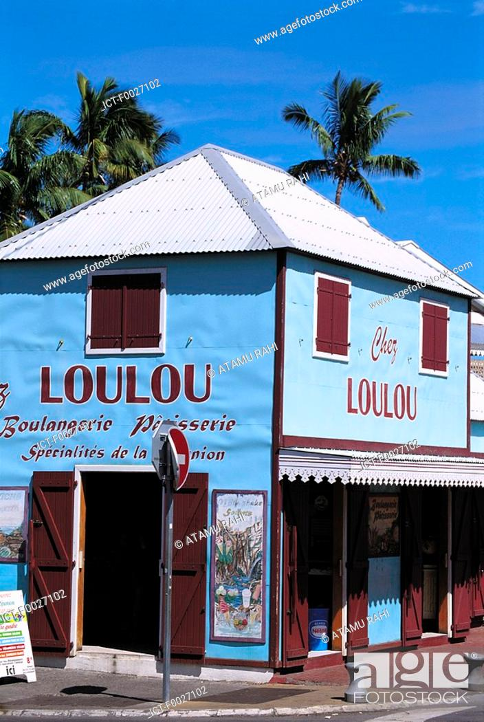 Stock Photo: Reunion, Saint-Gilles, old shop chez loulou.
