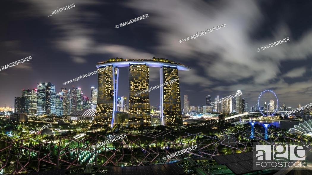 Stock Photo: Marina Bay Sands Hotel, Skyline and Singapore Flyer at night, Financial District, Banking District, Marina Bay, Downtown Core, Singapore, Asia.