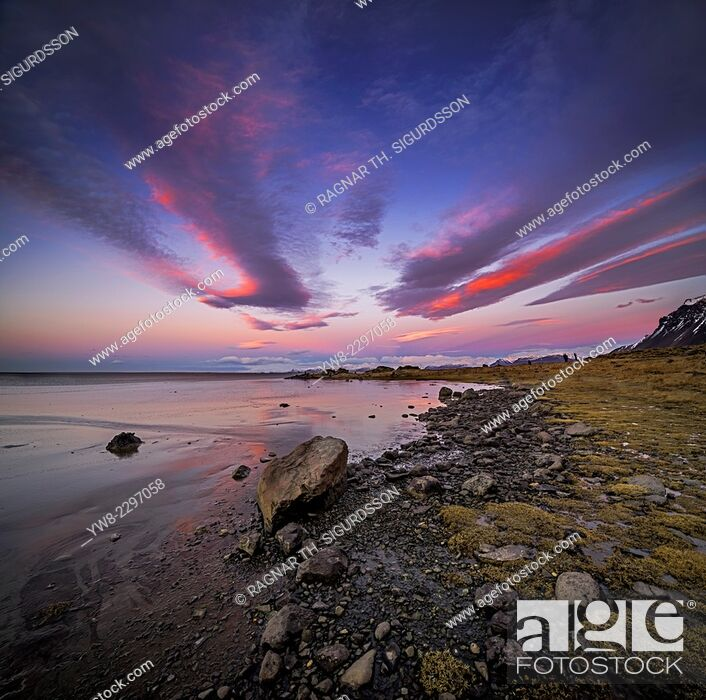 Stock Photo: Shoreline at Stokksnes, Hornafjordur, Eastern Iceland.