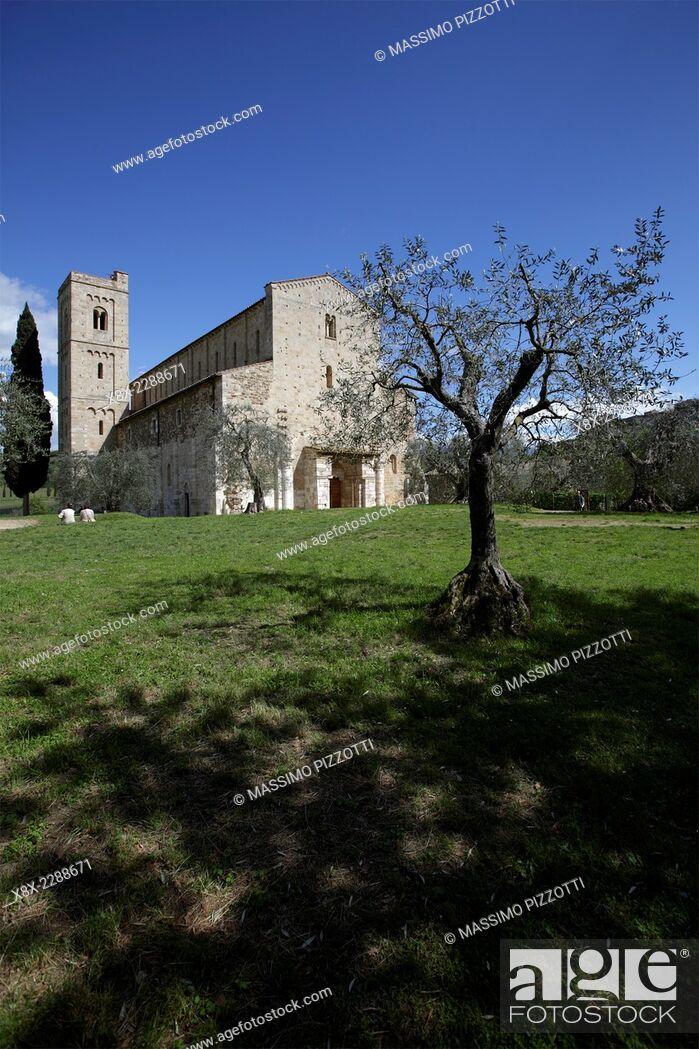 Stock Photo: Abbey of Sant'Antimo, the Benedictine monastery in the comune of Montalcino, Tuscany, Italy.